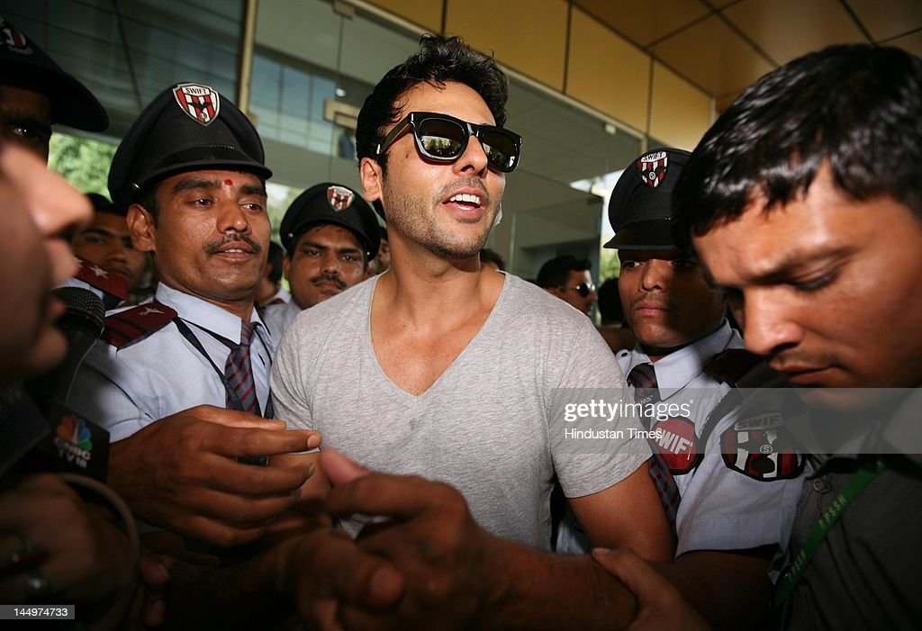 Mumbai-based businessman Sahil Peerzada leaves after being discharged from the hospital on May 21, 2012 in New Delhi, India. He was allegedly assaulted by Royal Challengers Bangalore cricketer Luke Pomersbach after he objected the cricketer attempts to molest his fiancé Zohal Hamid. The cricketer was later arrested and released on bail.