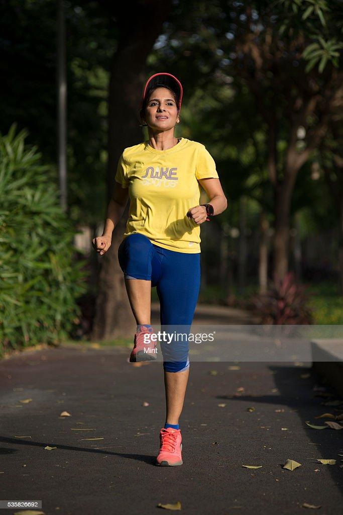 Mumbai-based designer and avid marathoner Manika Jain is practicing for her 42 km marathon run on December 12, 2015 in Mumbai, India.