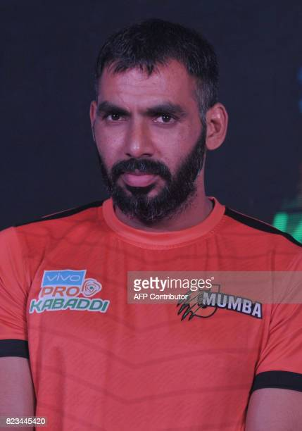 U MumbaTeam kabaddi captain Anup Kumar poses during an event for the fifth edition of the Pro Kabaddi League 2017 in Hyderabad on July 27 2017 The...