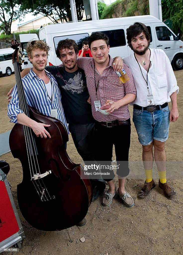 Mumford and Sons backstage at the Brisbane leg of the Laneway Festival in Fortitude Valley on January 29 2010 in Brisbane Australia
