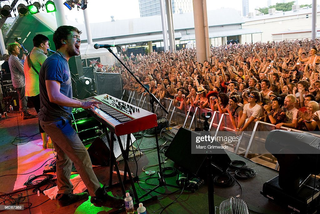 Mumford and Sons performs on stage at the Brisbane leg of the Laneway Festival in Fortitude Valley on January 29 2010 in Brisbane Australia