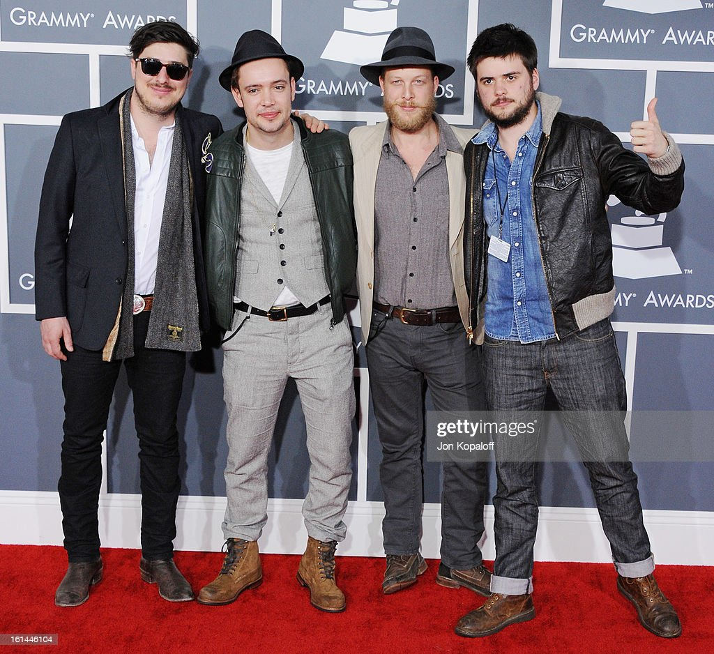 Mumford & Sons arrives at The 55th Annual GRAMMY Awards at Staples Center on February 10, 2013 in Los Angeles, California.