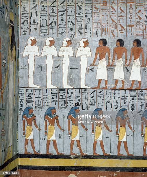 Mummies and male figures detail from the frescoes in the burial chamber of the Tomb of Ramesses I Valley of the Kings Luxor Thebes Egyptian...