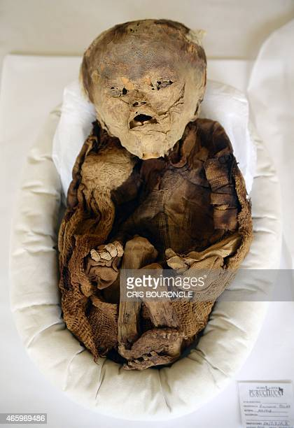 A mummified preInca baby is seen on March 4 at the site museum of the almost unknown Puruchuco 'Feathered HeadPiece' in Andean Quechua...