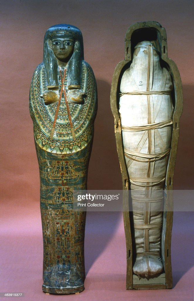 Mummy and mummy case of a princess Ancient Egyptian 21st Dynasty 1069945 BC From a royal tomb at Thebes today kept at the British Museum London