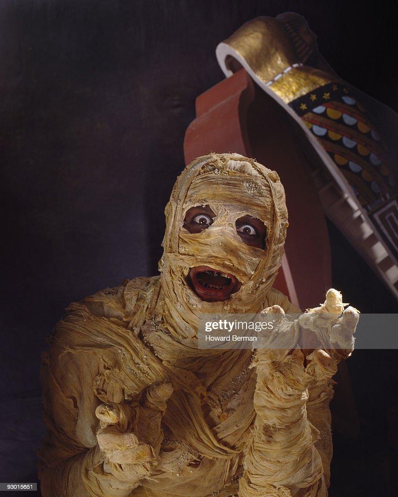 A mummy and sarcophagus.