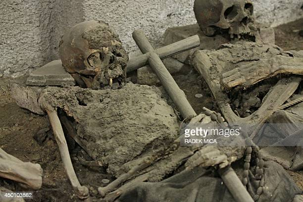 A mummy holding a cross is seen in the tomb of the Capuchin monastery in Brno Czech Republic on June 5 2014 In the Capuchin Crypt monks and...