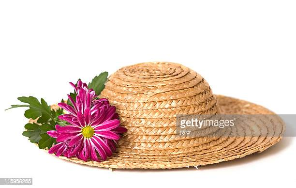 Mums on a Straw Hat