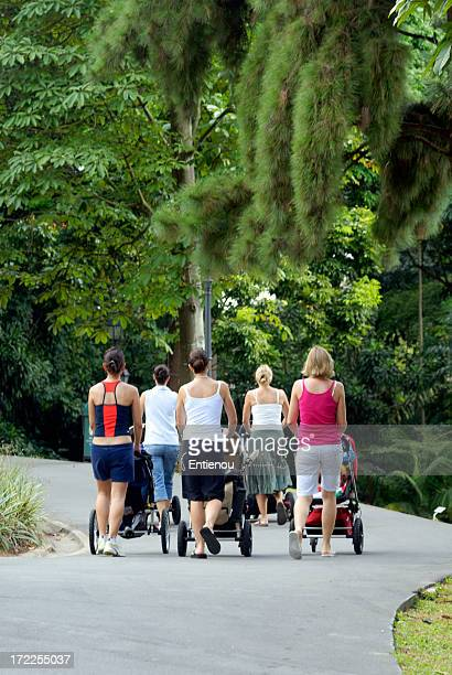 Mums with strollers in the park
