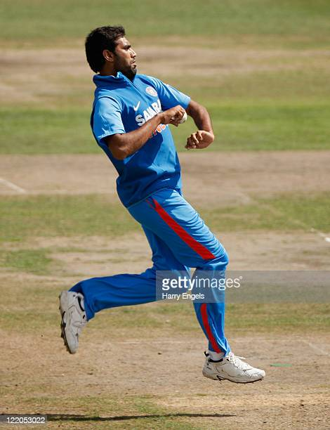 Munaf Patel of India bowls during the one day tour match between Sussex and India at The County Ground on August 25 2011 in Hove England