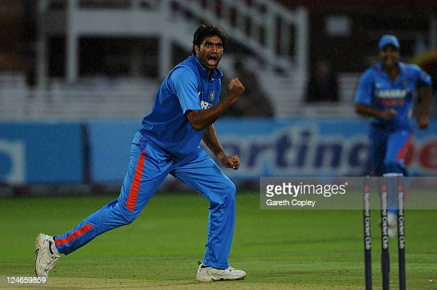 Munaf Patel of India celebrates after a direct hit to run out Graeme Swann of England during the 4th Natwest One Day International match between...