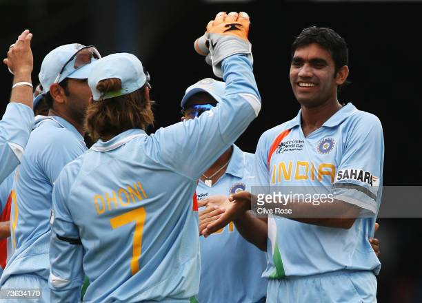 Munaf Patel of India celebrates the wicket of Delyone Borden of Bermuda during the ICC Cricket World Cup 2007 Group B match between Bermuda and India...