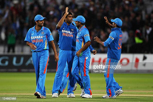 Munaf Patel of India celebrates with team mates after claiming the wicket of Ravi Bopara of England during the 4th Natwest One Day International...