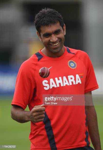 Munaf Patel of India looks on during the India nets session at Lord's Cricket Ground on July 20 2011 in London England