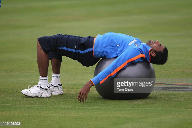 Munaf Patel of India warms up during the India nets session at Lord's Cricket Ground on July 20 2011 in London England