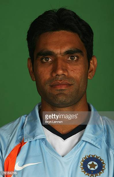 Munaf Patel poses during a photo call at the Marriott Hotel on August 17 2007 in Northampton England
