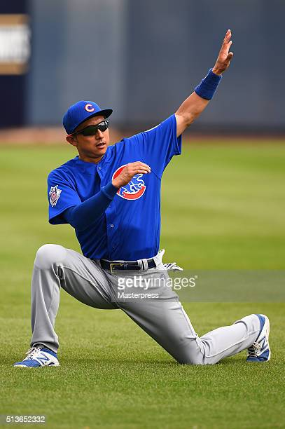 Munenori Kawasaki of Chicago Cubs in action during the spring training game between Milwaukee Brewers and Chicago Cubs at Maryvale Baseball Park on...