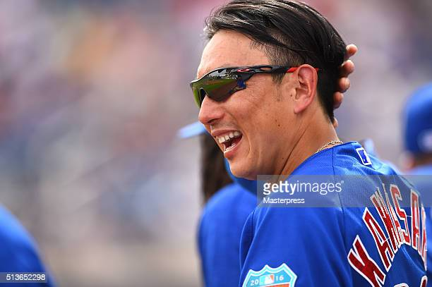 Munenori Kawasaki of Chicago Cubs smiles during the spring training game between Milwaukee Brewers and Chicago Cubs at Maryvale Baseball Park on...