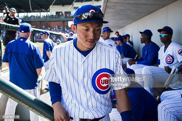 Munenori Kawasaki of the Chicago Cubs looks on during a spring training game against the Los Angeles Angels at Sloan Park on March 4 2016 in Mesa...
