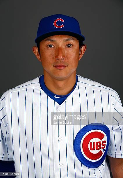 Munenori Kawasaki of the Chicago Cubs poses during a spring training photo shoot on February 29 2016 in Mesa Arizona