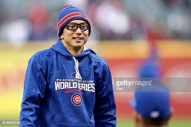 Munenori Kawasaki of the Chicago Cubs reacts prior to Game One of the 2016 World Series against the Cleveland Indians at Progressive Field on October...