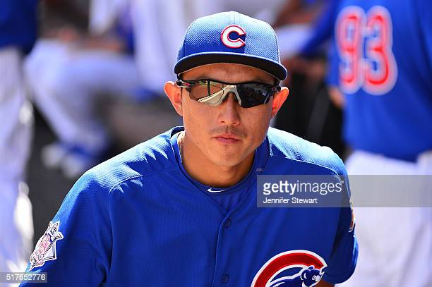 Munenori Kawasaki of the Chicago Cubs walks through the dugout prior to the spring training game against the Milwaukee Brewers at Sloan Park on March...