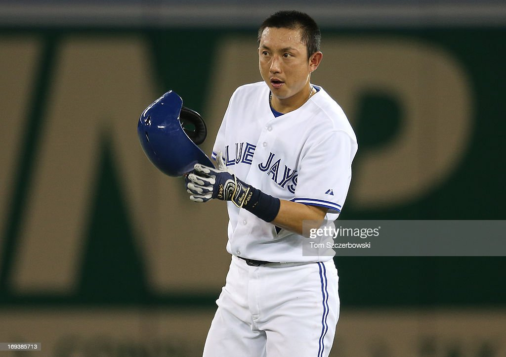 Munenori Kawasaki #66 of the Toronto Blue Jays during a break in the action during MLB game action against the Baltimore Orioles on May 23, 2013 at Rogers Centre in Toronto, Ontario, Canada.