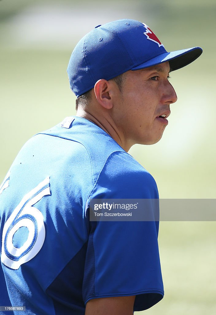 <a gi-track='captionPersonalityLinkClicked' href=/galleries/search?phrase=Munenori+Kawasaki&family=editorial&specificpeople=690355 ng-click='$event.stopPropagation()'>Munenori Kawasaki</a> #66 of the Toronto Blue Jays during batting practice before MLB game action against the Boston Red Sox on August 15, 2013 at Rogers Centre in Toronto, Ontario, Canada.