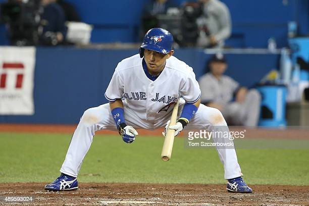 Munenori Kawasaki of the Toronto Blue Jays during his at bat in the fifth inning during MLB game action against the New York Yankees on September 22...