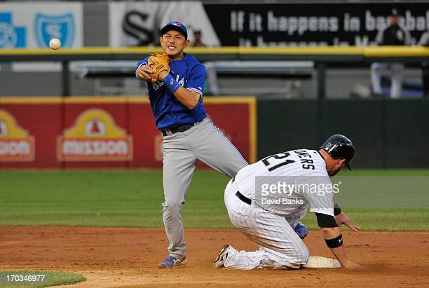 Munenori Kawasaki of the Toronto Blue Jays forces out Tyler Flowers of the Chicago White Sox during the third inning on June 11 2013 at US Cellular...