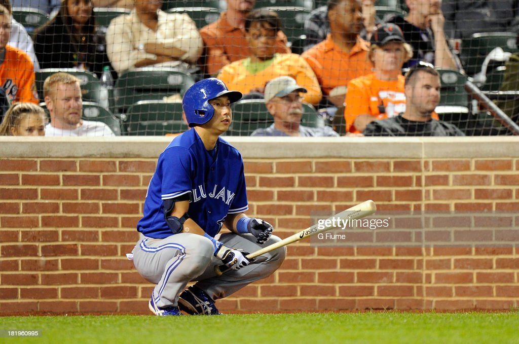 <a gi-track='captionPersonalityLinkClicked' href=/galleries/search?phrase=Munenori+Kawasaki&family=editorial&specificpeople=690355 ng-click='$event.stopPropagation()'>Munenori Kawasaki</a> #66 of the Toronto Blue Jays gets ready to bat in the eighth inning against the Baltimore Orioles at Oriole Park at Camden Yards on September 26, 2013 in Baltimore, Maryland.