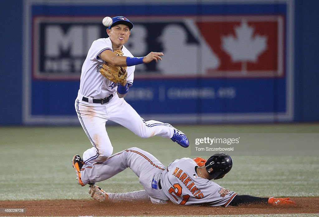 <a gi-track='captionPersonalityLinkClicked' href=/galleries/search?phrase=Munenori+Kawasaki&family=editorial&specificpeople=690355 ng-click='$event.stopPropagation()'>Munenori Kawasaki</a> #66 of the Toronto Blue Jays gets the force out at second base but cannot turn the double play in the sixth inning during MLB game action as <a gi-track='captionPersonalityLinkClicked' href=/galleries/search?phrase=Nick+Markakis&family=editorial&specificpeople=614708 ng-click='$event.stopPropagation()'>Nick Markakis</a> #21 of the Baltimore Orioles slides on August 5, 2014 at Rogers Centre in Toronto, Ontario, Canada.