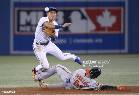 Munenori Kawasaki of the Toronto Blue Jays gets the force out at second base but cannot turn the double play in the sixth inning during MLB game...