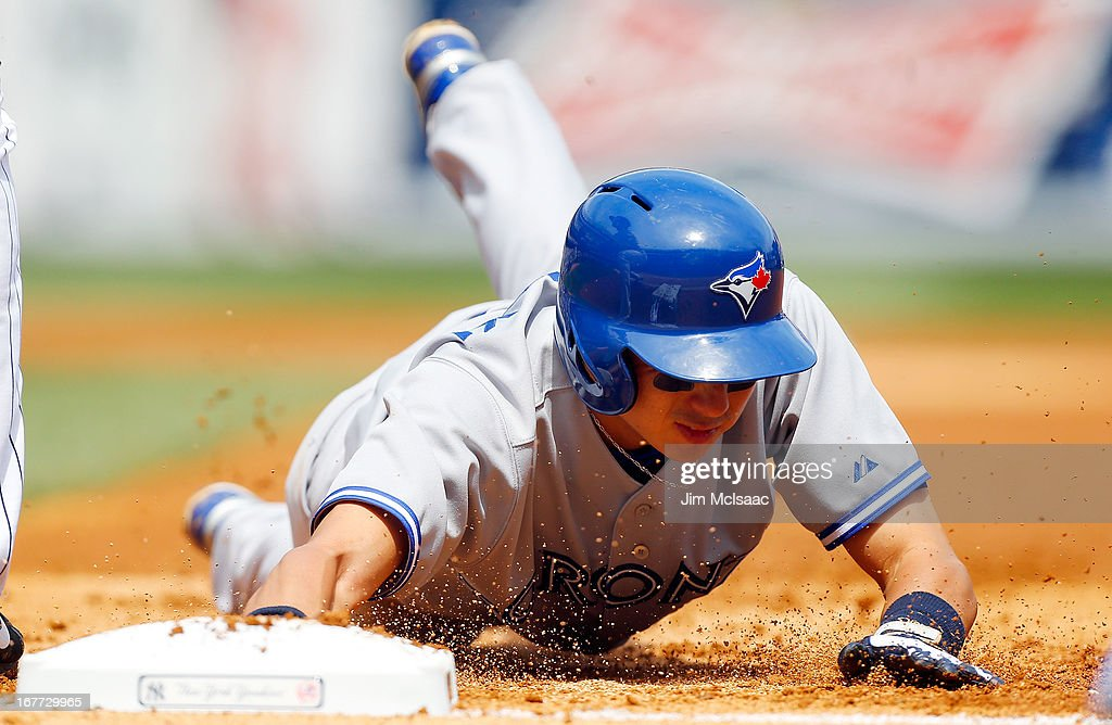<a gi-track='captionPersonalityLinkClicked' href=/galleries/search?phrase=Munenori+Kawasaki&family=editorial&specificpeople=690355 ng-click='$event.stopPropagation()'>Munenori Kawasaki</a> #66 of the Toronto Blue Jays in action against the New York Yankees at Yankee Stadium on April 28, 2013 in the Bronx borough of New York City. The Yankees defeated the Blue Jays 3-2.