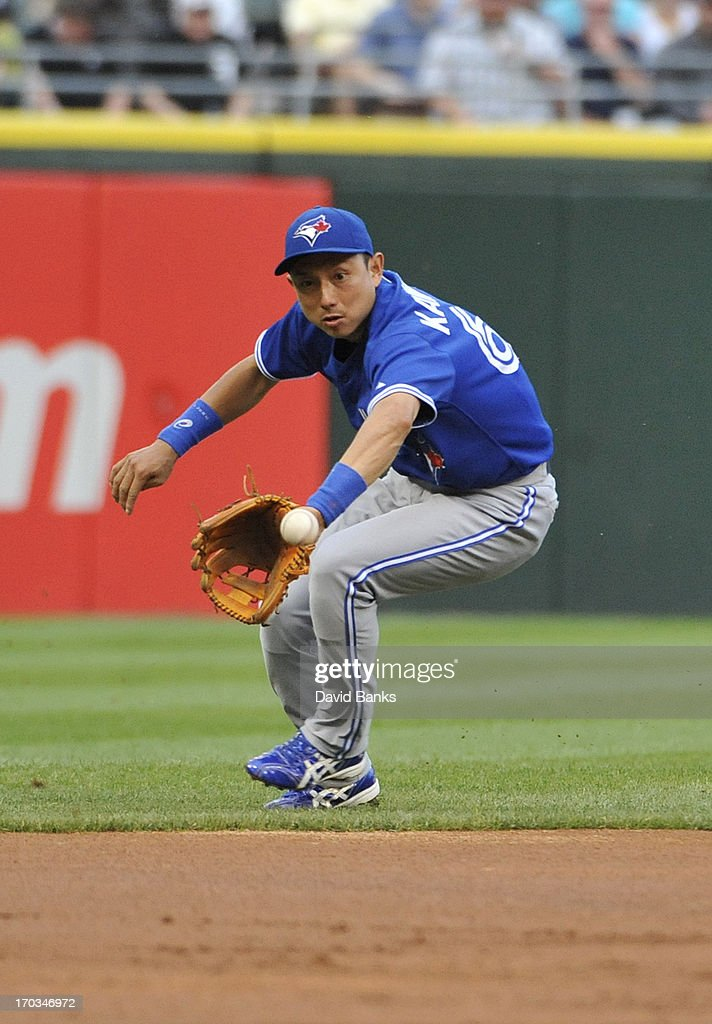 Munenori Kawasaki #66 of the Toronto Blue Jays makes a play against the Chicago White Sox during the first inning on June 11, 2013 at U.S. Cellular Field in Chicago, Illinois.