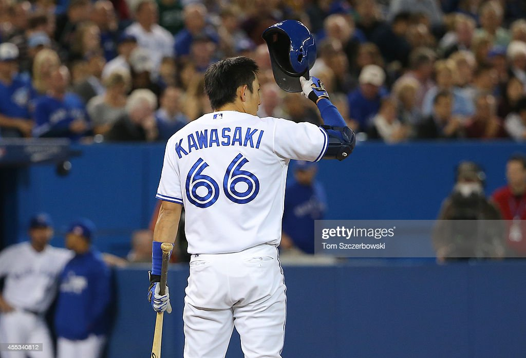 Munenori Kawasaki of the Toronto Blue Jays pinch hits in the seventh inning during MLB game action against the Tampa Bay Rays on September 12 2014 at...