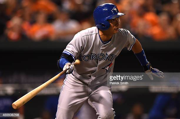Munenori Kawasaki of the Toronto Blue Jays pops out in the eighth inning against the Baltimore Orioles at Oriole Park at Camden Yards on September 15...