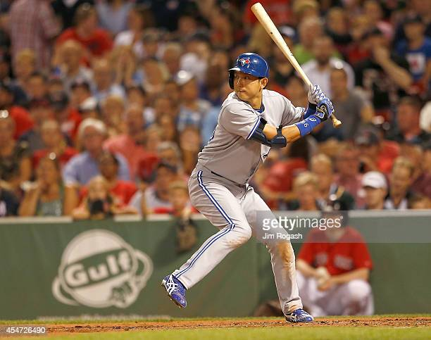 Munenori Kawasaki of the Toronto Blue Jays prepares to bat in the second against the Boston Red Sox at Fenway Park on September 5 2014 in Boston...
