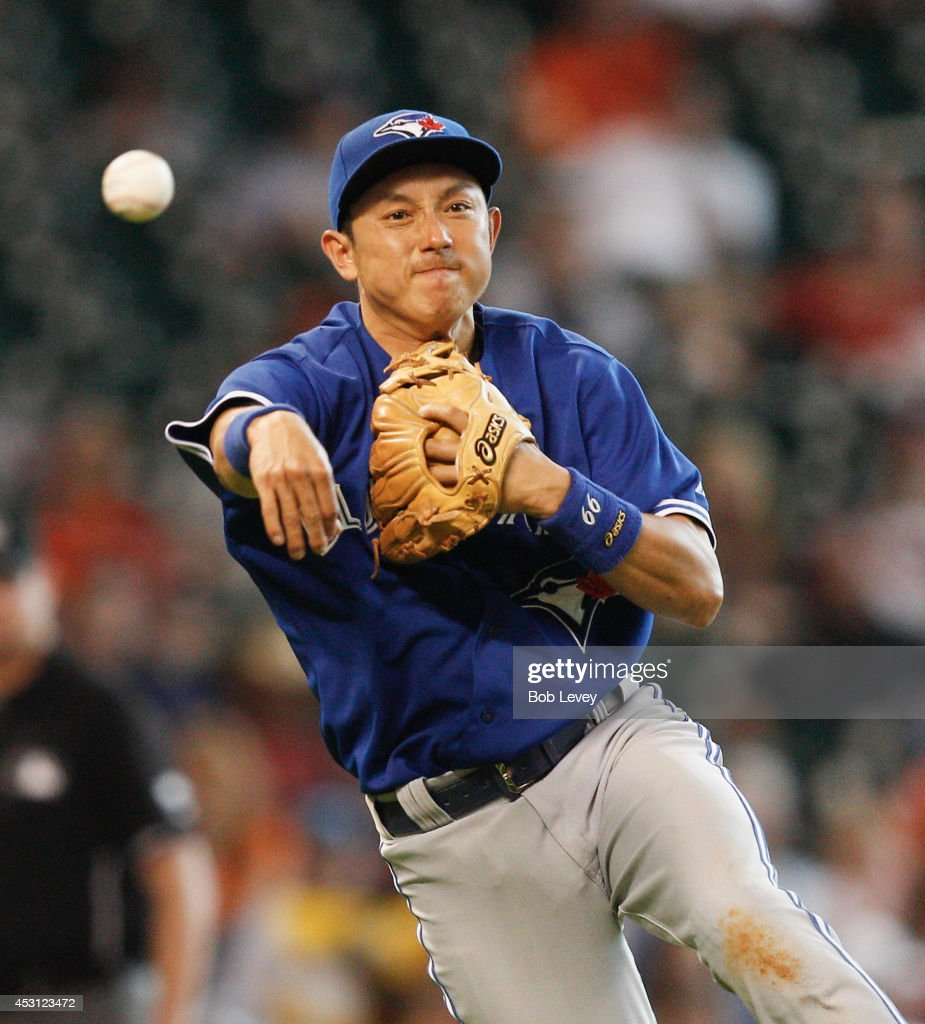 <a gi-track='captionPersonalityLinkClicked' href=/galleries/search?phrase=Munenori+Kawasaki&family=editorial&specificpeople=690355 ng-click='$event.stopPropagation()'>Munenori Kawasaki</a> #66 of the Toronto Blue Jays throws to first base in the eighth inning to retire Jake Marisnick #6 of the Houston Astros at Minute Maid Park on August 3, 2014 in Houston, Texas.