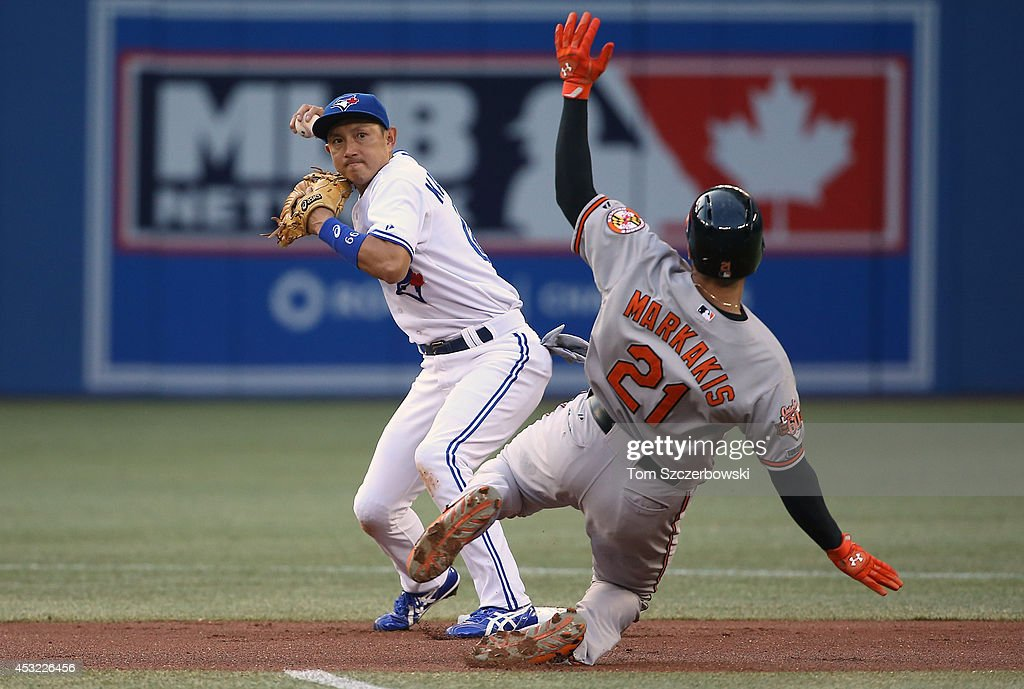 Munenori Kawasaki of the Toronto Blue Jays turns a double play in the first inning during MLB game action as Nick Markakis of the Baltimore Orioles...