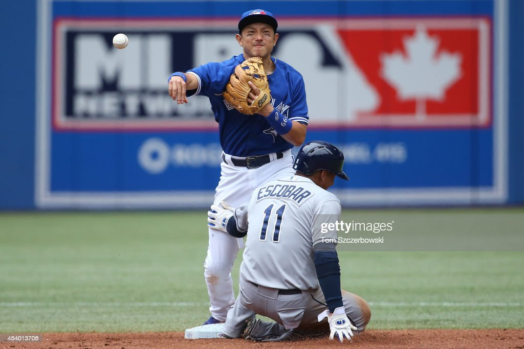 <a gi-track='captionPersonalityLinkClicked' href=/galleries/search?phrase=Munenori+Kawasaki&family=editorial&specificpeople=690355 ng-click='$event.stopPropagation()'>Munenori Kawasaki</a> #66 of the Toronto Blue Jays turns a double play in the third inning during MLB game action as <a gi-track='captionPersonalityLinkClicked' href=/galleries/search?phrase=Yunel+Escobar&family=editorial&specificpeople=757358 ng-click='$event.stopPropagation()'>Yunel Escobar</a> #11 of the Tampa Bay Rays slides into second base on August 23, 2014 at Rogers Centre in Toronto, Ontario, Canada.
