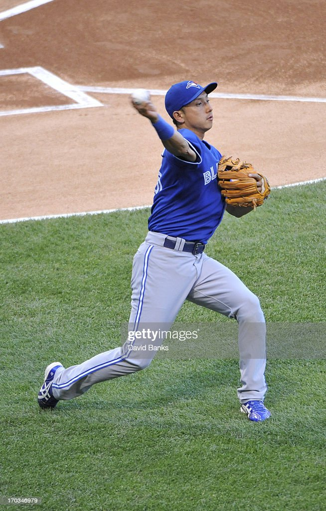 Munenori Kawasaki #66 of the Toronto Blue Jays warms up before the game against the Chicago White Sox on June 11, 2013 at U.S. Cellular Field in Chicago, Illinois.