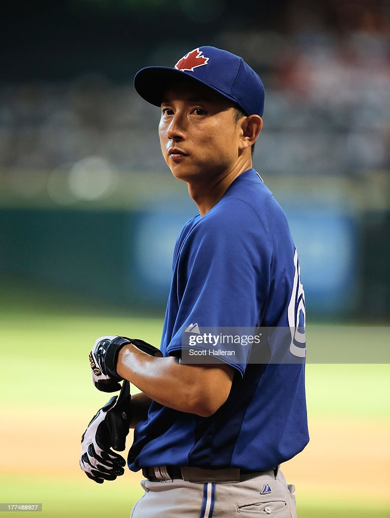 Munenori Kawasaki #66 of the Toronto Blue Jays works out on the field before the game against the Houston Astros at Minute Maid Park on August 23, 2013 in Houston, Texas.