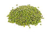 Vigna radiata. Mung beans isolated on white background