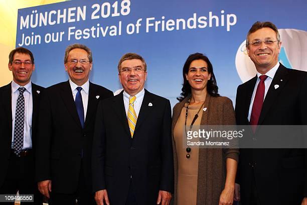 Munich 2018 CEO Bernhard Schwank Lord Mayor of Munich Christian Ude IOC vice president Thomas Bach Katarina Witt and Bavarian minister of state...