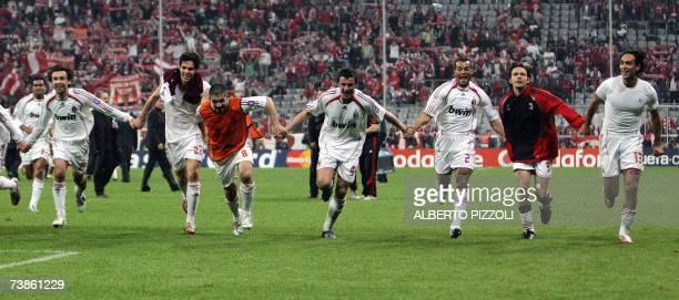 AC Milan's players Andrea Pirlo Brazilian midfielder Kaka Gennaro Gattuso Massimo Oddo Brazilian defender Cafu Filippo Inzaghi and Alessandro Nesta...