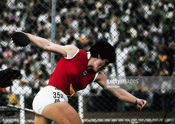 Munich Germany Faina Melnik Soviet Olympic discuss thrower in action during the 1972 Summer Olympics She won the event by setting a new world record...