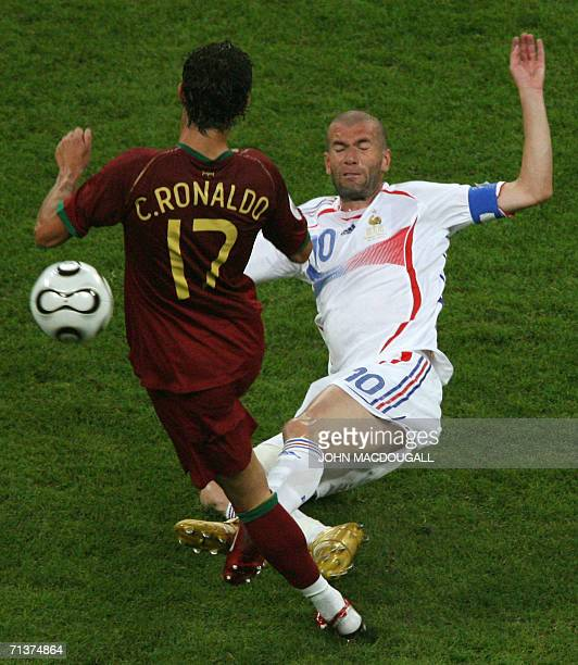 French midfielder Zinedine Zidane tries to tackle Portuguese forward Cristiano Ronaldo during the World Cup semi final football match Portugal vs...