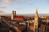 Munich old city Marienplatz aerial view Germany