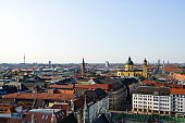 Munich - Panoramic view from the New City Hall Tower at after noon. Bavaria, Germany.